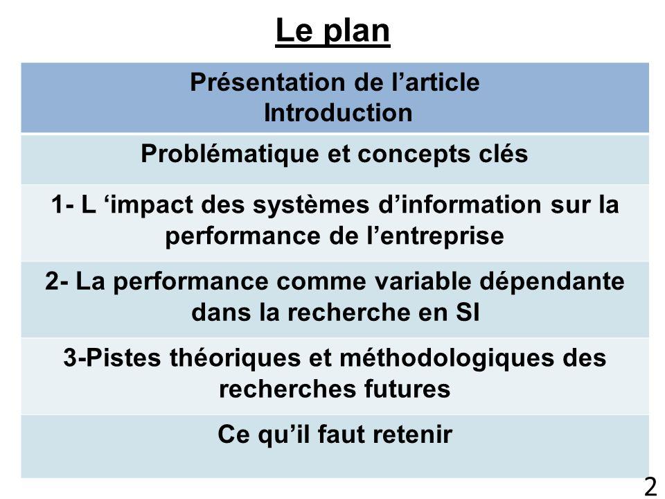 Le plan Présentation de larticle Introduction Problématique et concepts clés 1- L impact des systèmes dinformation sur la performance de lentreprise 2