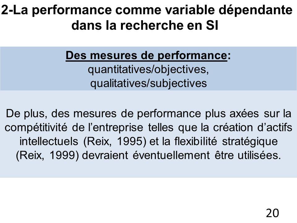 Des mesures de performance: quantitatives/objectives, qualitatives/subjectives de nature économique, financière, décisionnelle et stratégique (la prod