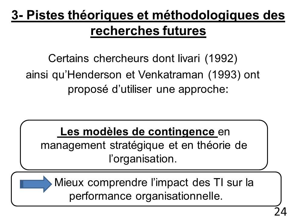 3- Pistes théoriques et méthodologiques des recherches futures Certains chercheurs dont Iivari (1992) ainsi quHenderson et Venkatraman (1993) ont prop