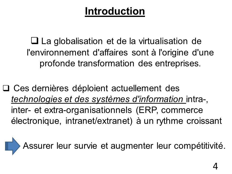 Introduction La globalisation et de la virtualisation de l'environnement d'affaires sont à l'origine d'une profonde transformation des entreprises. Ce