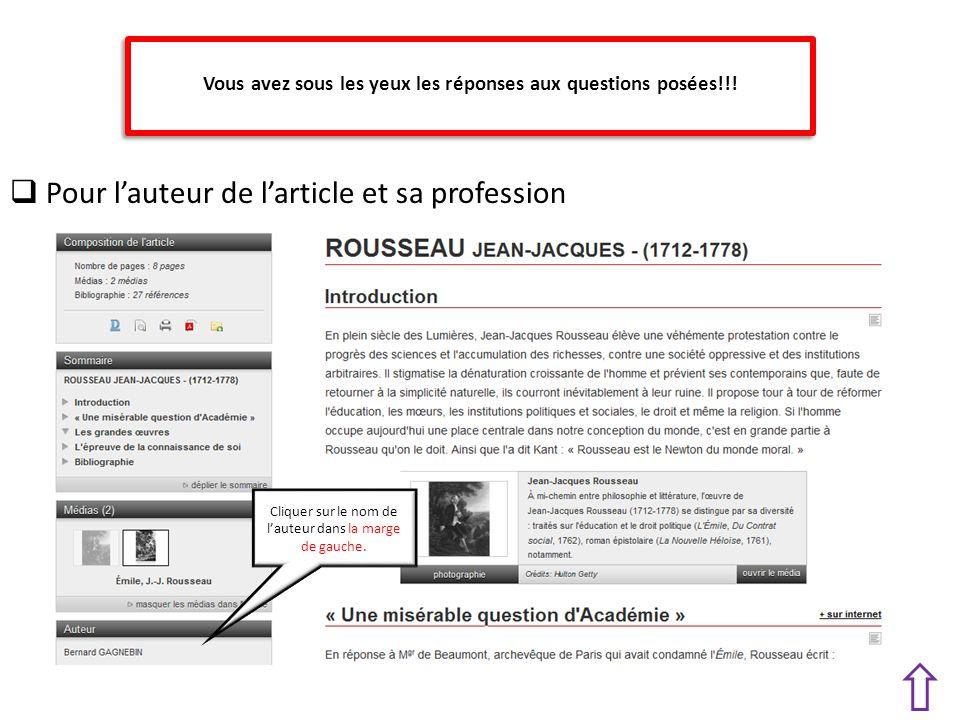 Pour lauteur de larticle et sa profession Cliquer sur le nom de lauteur dans la marge de gauche.