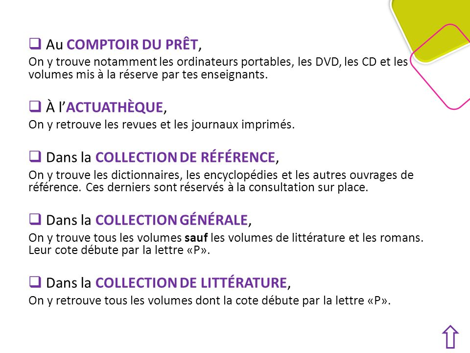 Au COMPTOIR DU PRÊT, On y trouve notamment les ordinateurs portables, les DVD, les CD et les volumes mis à la réserve par tes enseignants.