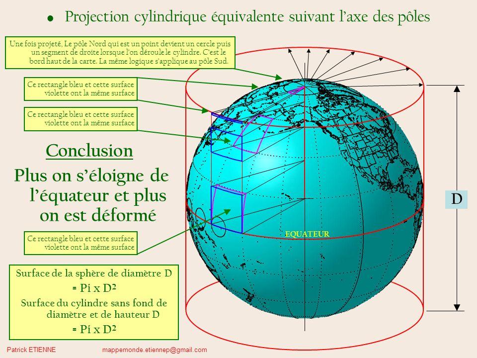 Patrick ETIENNE mappemonde.etiennep@gmail.com D EQUATEUR Projection cylindrique équivalente suivant laxe des pôles Ce rectangle bleu et cette surface violette ont la même surface Conclusion Plus on séloigne de léquateur et plus on est déformé Surface de la sphère de diamètre D = Pi x D² Surface du cylindre sans fond de diamètre et de hauteur D = Pi x D² Ce rectangle bleu et cette surface violette ont la même surface Une fois projeté, Le pôle Nord qui est un point devient un cercle puis un segment de droite lorsque lon déroule le cylindre.