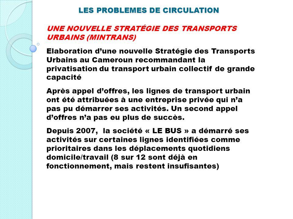 LES PROBLEMES DE CIRCULATION UNE NOUVELLE STRATÉGIE DES TRANSPORTS URBAINS (MINTRANS) Elaboration dune nouvelle Stratégie des Transports Urbains au Ca