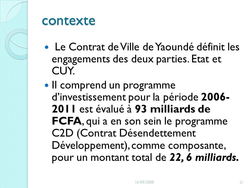 contexte Le Contrat de Ville de Yaoundé définit les engagements des deux parties. Etat et CUY. Il comprend un programme dinvestissement pour la périod