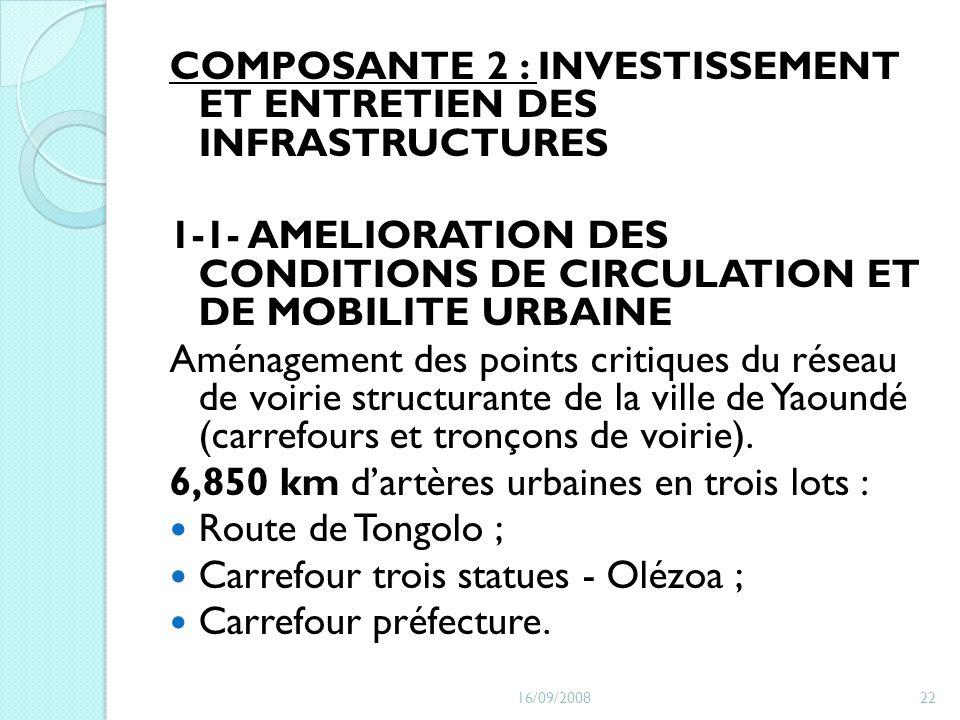COMPOSANTE 2 : INVESTISSEMENT ET ENTRETIEN DES INFRASTRUCTURES 1-1- AMELIORATION DES CONDITIONS DE CIRCULATION ET DE MOBILITE URBAINE Aménagement des