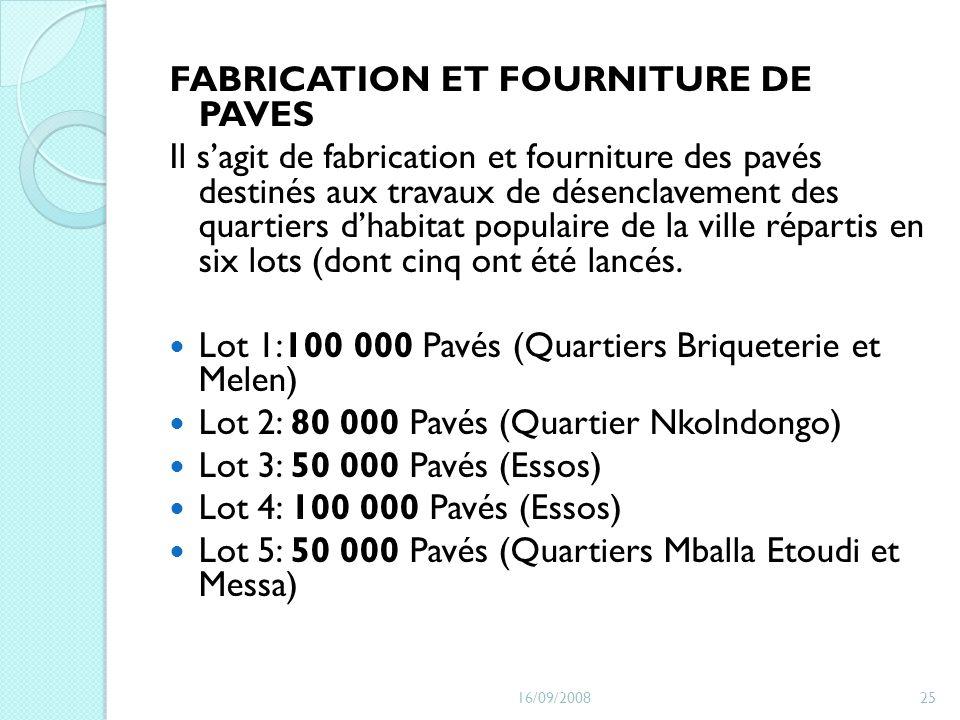 FABRICATION ET FOURNITURE DE PAVES Il sagit de fabrication et fourniture des pavés destinés aux travaux de désenclavement des quartiers dhabitat popul