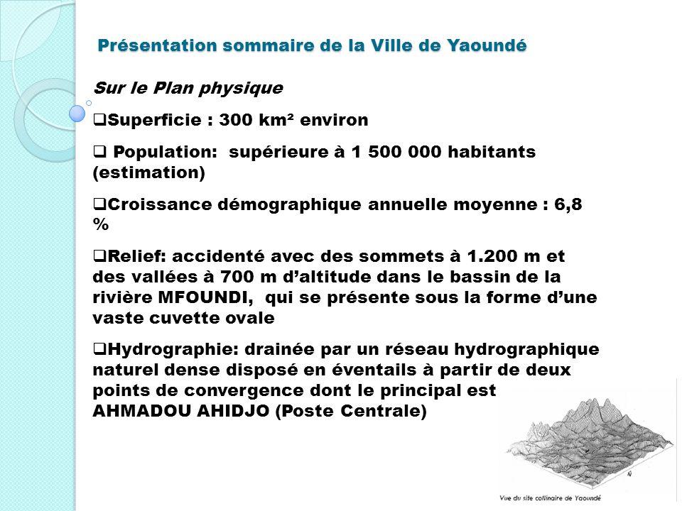 Présentation sommaire de la Ville de Yaoundé Sur le Plan physique Superficie : 300 km² environ Population: supérieure à 1 500 000 habitants (estimatio