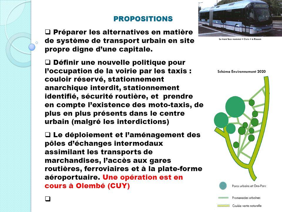 PROPOSITIONS Préparer les alternatives en matière de système de transport urbain en site propre digne dune capitale. Définir une nouvelle politique po