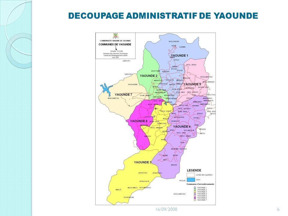 DECOUPAGE ADMINISTRATIF DE YAOUNDE 16/09/20086