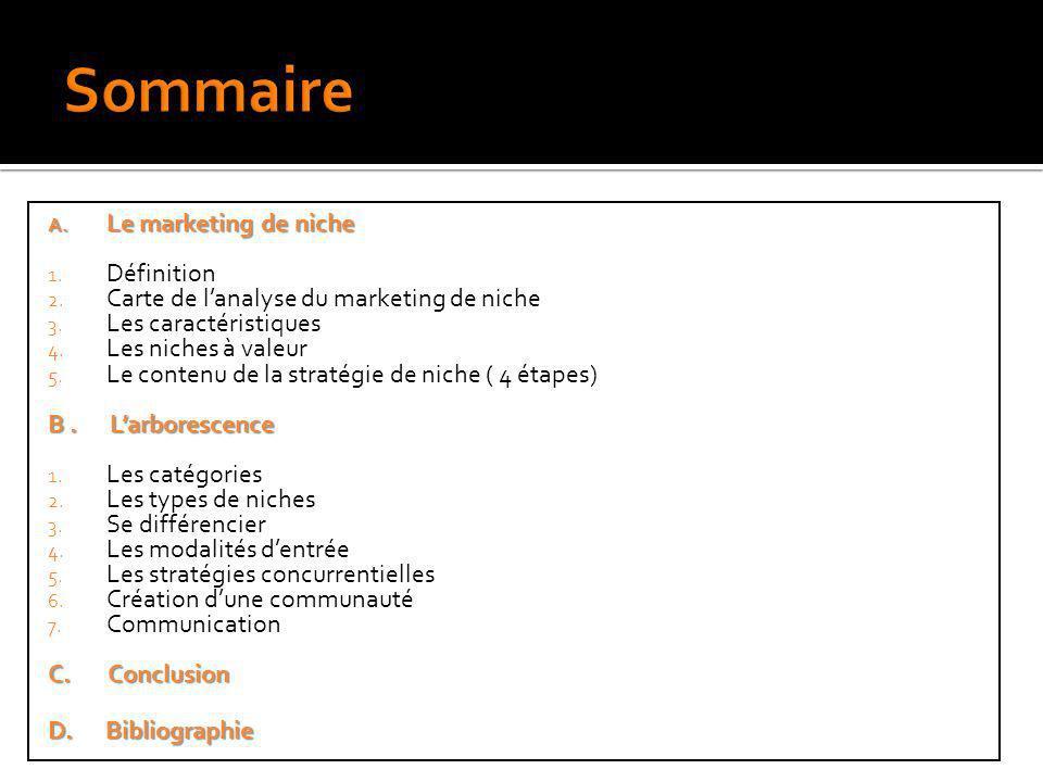A. Le marketing de niche 1. Définition 2. Carte de lanalyse du marketing de niche 3. Les caractéristiques 4. Les niches à valeur 5. Le contenu de la s