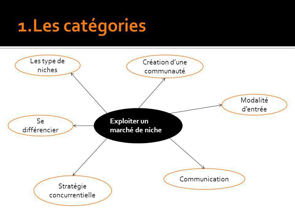 Exploiter un marché de niche Les type de niches Se différencier Stratégie concurrentielle Communication Modalité dentrée Création dune communauté