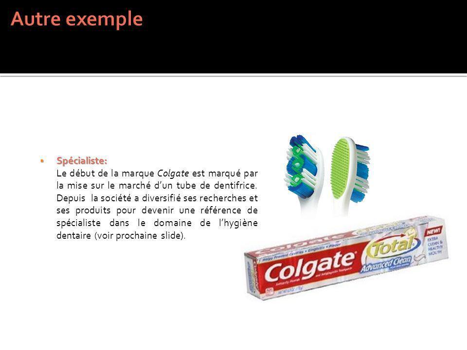 Spécialiste: Spécialiste: Le début de la marque Colgate est marqué par la mise sur le marché dun tube de dentifrice. Depuis la société a diversifié se