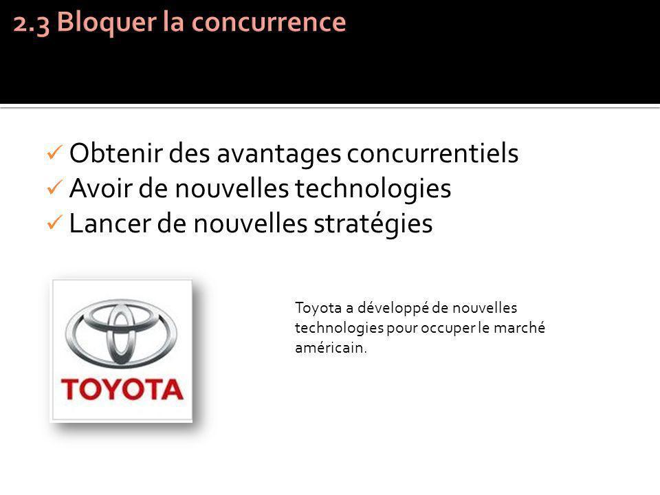 Obtenir des avantages concurrentiels Avoir de nouvelles technologies Lancer de nouvelles stratégies Toyota a développé de nouvelles technologies pour