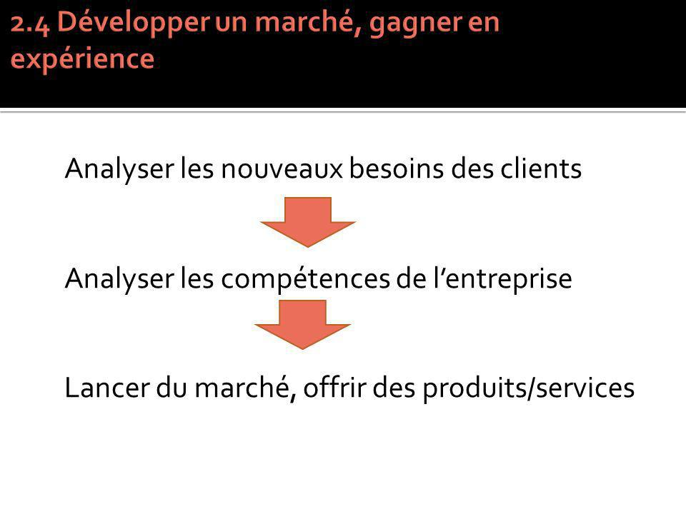 Analyser les nouveaux besoins des clients Analyser les compétences de lentreprise Lancer du marché, offrir des produits/services