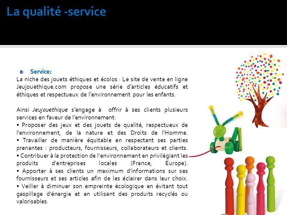 Service: La niche des jouets éthiques et écolos : Le site de vente en ligne Jeujouethique.com propose une série darticles éducatifs et éthiques et res