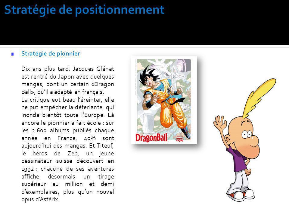 Stratégie de pionnier Dix ans plus tard, Jacques Glénat est rentré du Japon avec quelques mangas, dont un certain «Dragon Ball», quil a adapté en fran