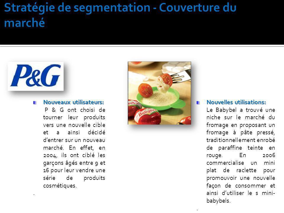 Nouveaux utilisateurs: P & G ont choisi de tourner leur produits vers une nouvelle cible et a ainsi décidé dentrer sur un nouveau marché. En effet, en