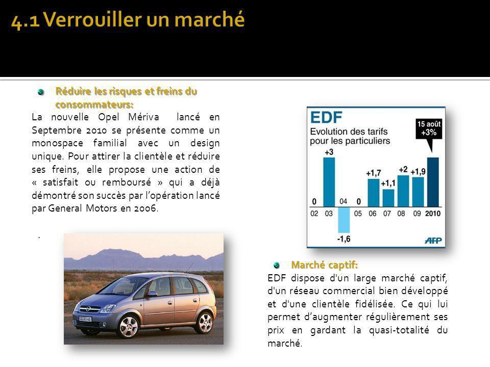 Marché captif: EDF dispose d'un large marché captif, d'un réseau commercial bien développé et d'une clientèle fidélisée. Ce qui lui permet daugmenter