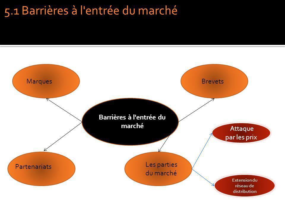 Barrières à l'entrée du marché MarquesBrevets Partenariats Les parties du marché 5.1 Barrières à l'entrée du marché Attaque par les prix Extension du