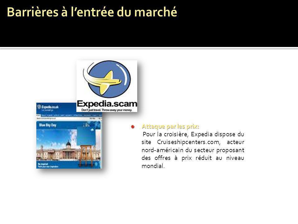 Attaque par les prix: Pour la croisière, Expedia dispose du site Cruiseshipcenters.com, acteur nord-américain du secteur proposant des offres à prix r
