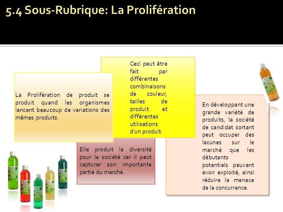 La Prolifération de produit se produit quand les organismes lancent beaucoup de variations des mêmes produits. Ceci peut être fait par différentes com