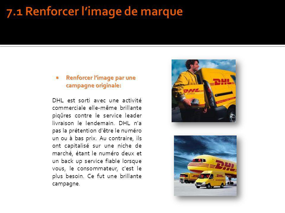 Renforcer limage par une campagne originale: Renforcer limage par une campagne originale: DHL est sorti avec une activité commerciale elle-même brilla