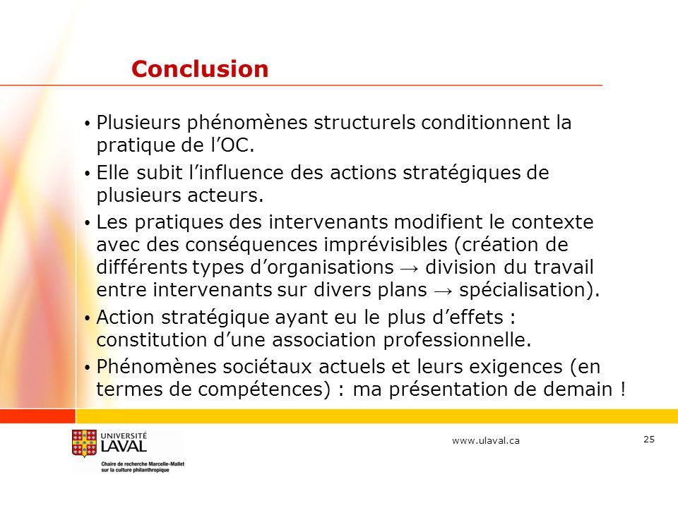 www.ulaval.ca Conclusion Plusieurs phénomènes structurels conditionnent la pratique de lOC. Elle subit linfluence des actions stratégiques de plusieur