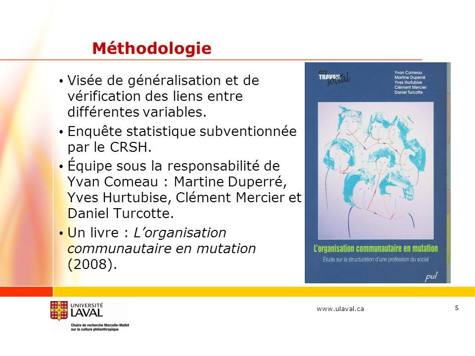 www.ulaval.ca 5 Méthodologie Visée de généralisation et de vérification des liens entre différentes variables. Enquête statistique subventionnée par l