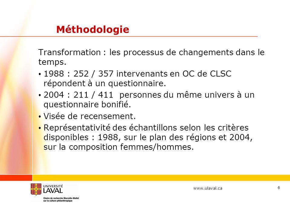 www.ulaval.ca 6 Méthodologie Transformation : les processus de changements dans le temps. 1988 : 252 / 357 intervenants en OC de CLSC répondent à un q