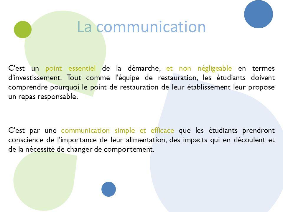 La communication C est un point essentiel de la démarche, et non négligeable en termes d investissement.