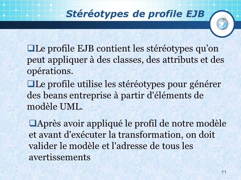 Stéréotypes de profile EJB 11 Le profile EJB contient les stéréotypes quon peut appliquer à des classes, des attributs et des opérations.