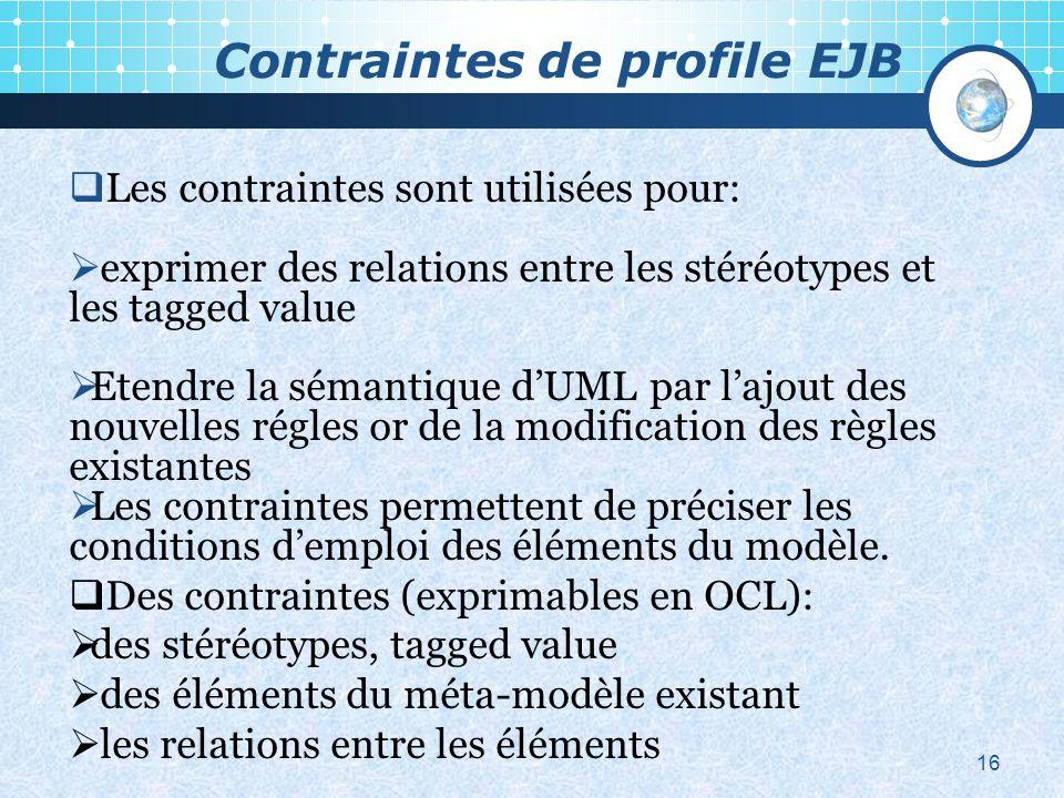 Contraintes de profile EJB 16 Les contraintes sont utilisées pour: exprimer des relations entre les stéréotypes et les tagged value Etendre la sémantique dUML par lajout des nouvelles régles or de la modification des règles existantes Les contraintes permettent de préciser les conditions demploi des éléments du modèle.