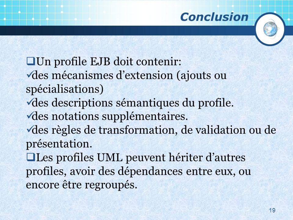19 Un profile EJB doit contenir: des mécanismes dextension (ajouts ou spécialisations) des descriptions sémantiques du profile.