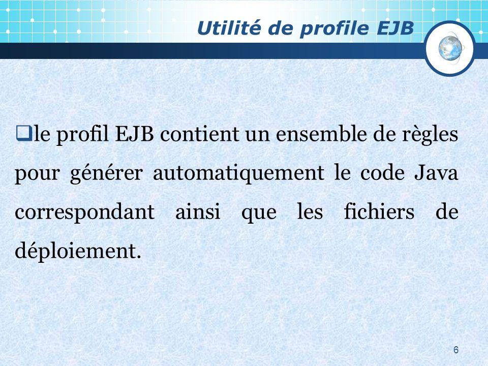 Utilité de profile EJB 6 le profil EJB contient un ensemble de règles pour générer automatiquement le code Java correspondant ainsi que les fichiers de déploiement.