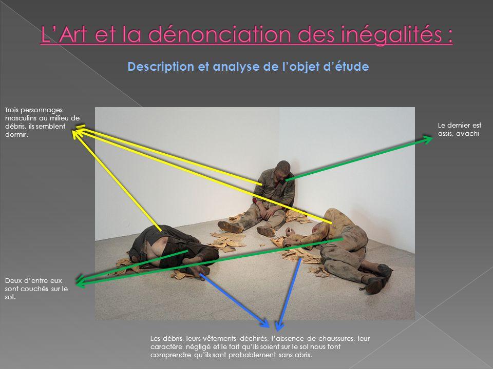 Description et analyse de lobjet détude Trois personnages masculins au milieu de débris, ils semblent dormir. Deux dentre eux sont couchés sur le sol.