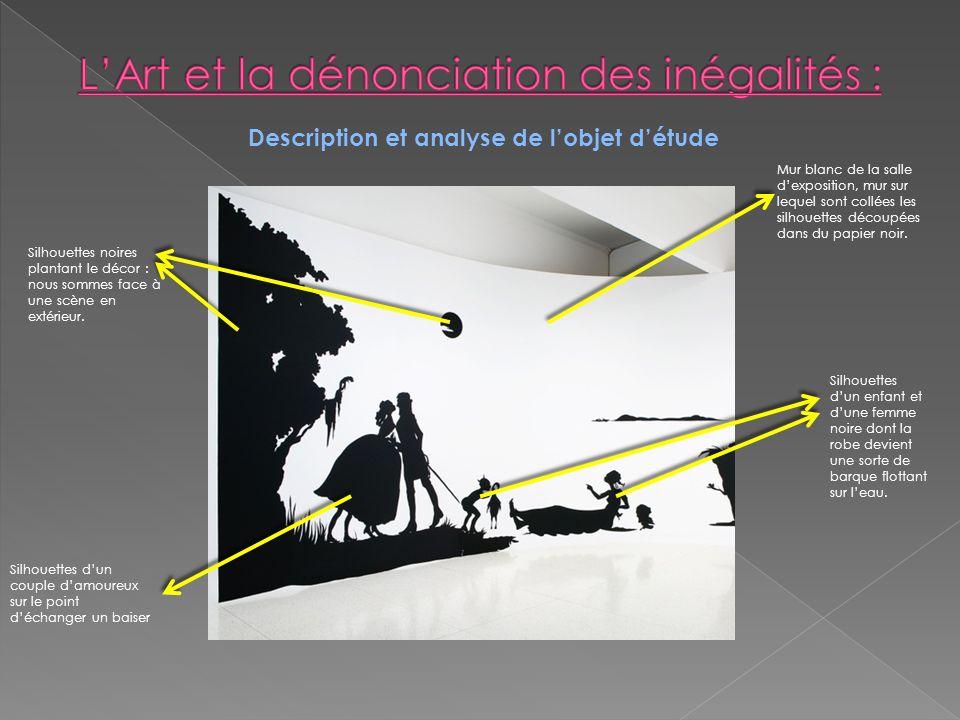 Description et analyse de lobjet détude Ce que je vois La description : Il sagit dun panorama (ensemble de représentations organisées horizontalement) qui donnent à voir différentes scénettes jouées par des silhouettes noires qui contrastent avec le blanc du mur.