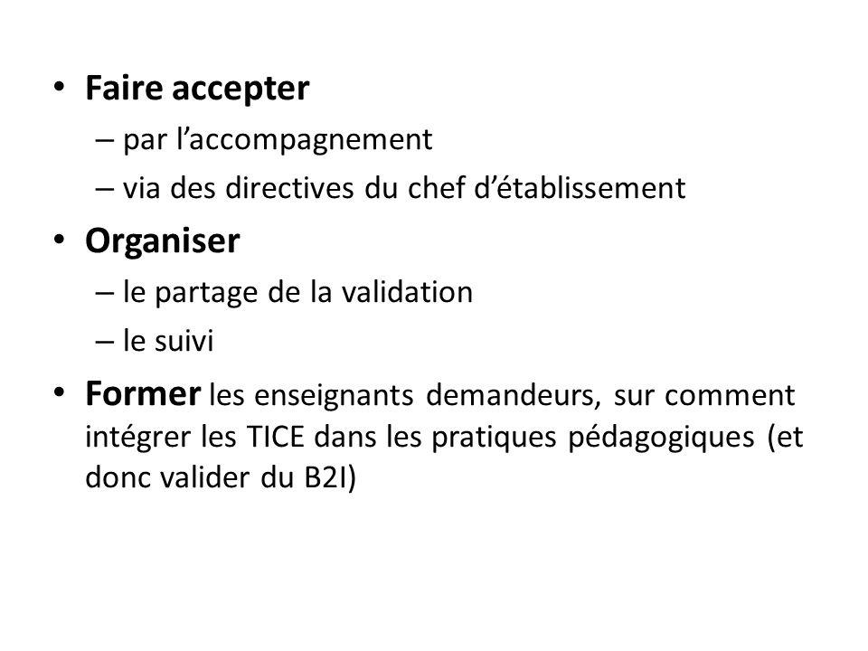 Faire accepter – par laccompagnement – via des directives du chef détablissement Organiser – le partage de la validation – le suivi Former les enseign