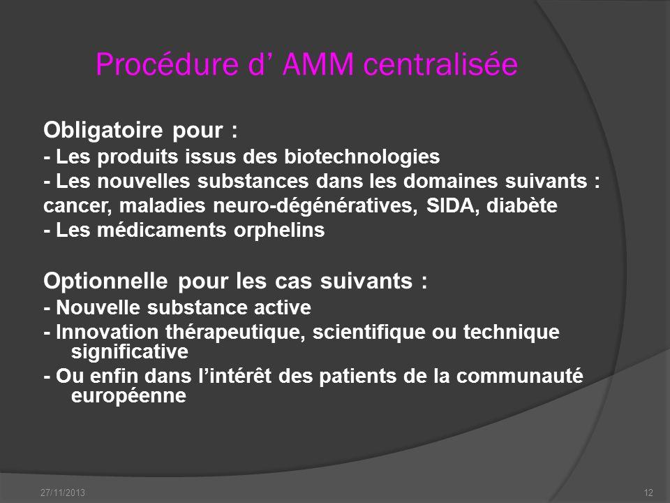 Procédure d AMM centralisée Obligatoire pour : - Les produits issus des biotechnologies - Les nouvelles substances dans les domaines suivants : cancer