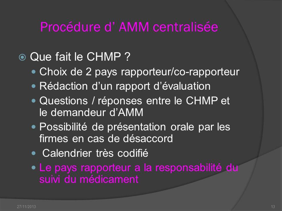Procédure d AMM centralisée Que fait le CHMP ? Choix de 2 pays rapporteur/co-rapporteur Rédaction dun rapport dévaluation Questions / réponses entre l
