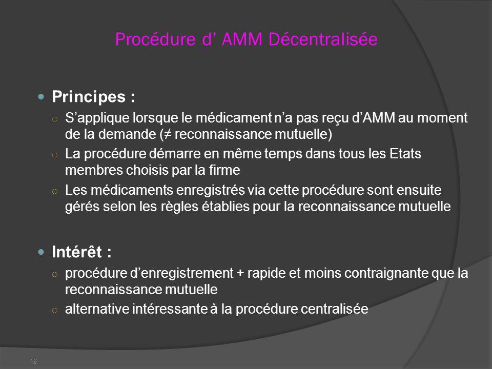 16 Procédure d AMM Décentralisée Principes : Sapplique lorsque le médicament na pas reçu dAMM au moment de la demande ( reconnaissance mutuelle) La pr