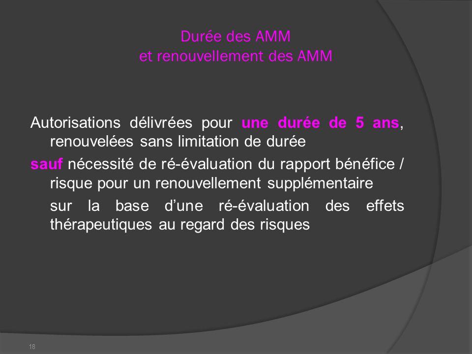 18 Durée des AMM et renouvellement des AMM Autorisations délivrées pour une durée de 5 ans, renouvelées sans limitation de durée sauf nécessité de ré-