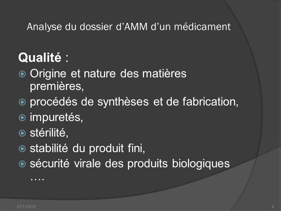 Analyse du dossier dAMM dun médicament Qualité : Origine et nature des matières premières, procédés de synthèses et de fabrication, impuretés, stérili