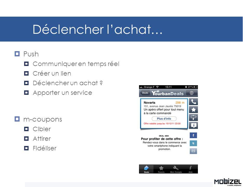 Déclencher lachat… Push Communiquer en temps réel Créer un lien Déclencher un achat ? Apporter un service m-coupons Cibler Attirer Fidéliser