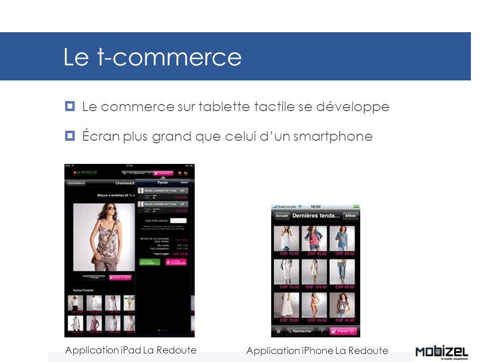 Le t-commerce Le commerce sur tablette tactile se développe Écran plus grand que celui dun smartphone Application iPad La Redoute Application iPhone L