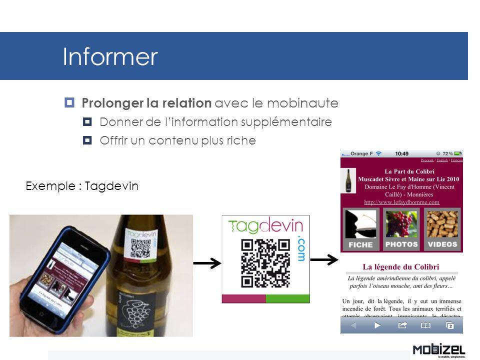 Informer Prolonger la relation avec le mobinaute Donner de linformation supplémentaire Offrir un contenu plus riche Exemple : Tagdevin