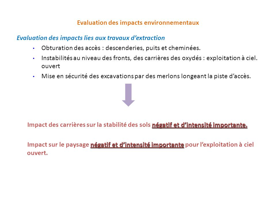 Evaluation des impacts environnementaux Evaluation des impacts lies aux travaux dextraction Obturation des accès : descenderies, puits et cheminées. I
