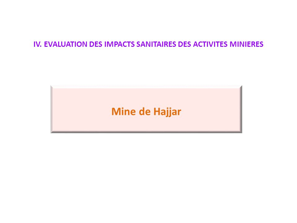 IV. EVALUATION DES IMPACTS SANITAIRES DES ACTIVITES MINIERES Mine de Hajjar
