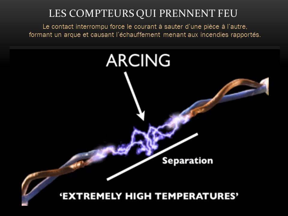 LES COMPTEURS QUI PRENNENT FEU Le contact interrompu force le courant à sauter dune pièce à lautre, formant un arque et causant léchauffement menant aux incendies rapportés.