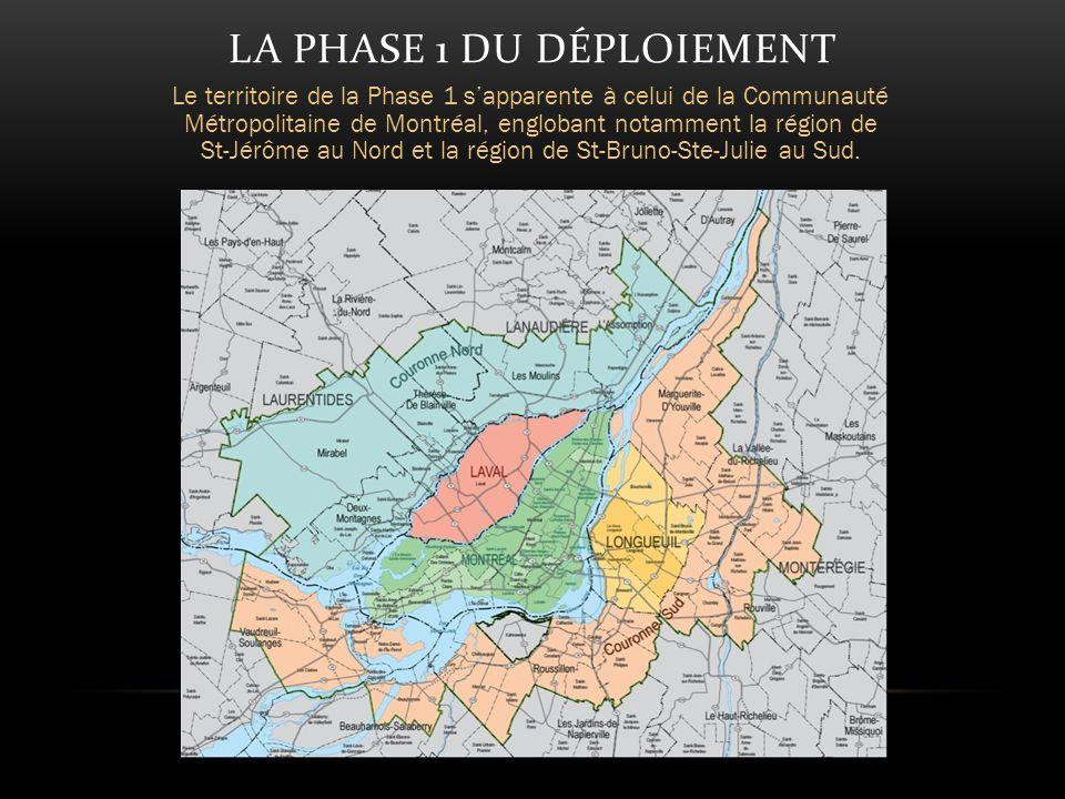LA PHASE 1 DU DÉPLOIEMENT Le territoire de la Phase 1 sapparente à celui de la Communauté Métropolitaine de Montréal, englobant notamment la région de St-Jérôme au Nord et la région de St-Bruno-Ste-Julie au Sud.